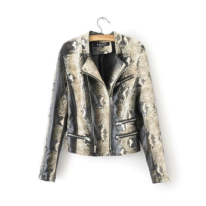 2019 New spring autumn vintage Snake print faux   leather   jackets ladies slim zipper short   leather   coats women biker street coat
