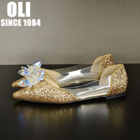 Wedding Shoes Flat Bridal Shoes Pointed Toe Plus Size Rhinestone Silver Gold Paillette Flat Heel Wedding
