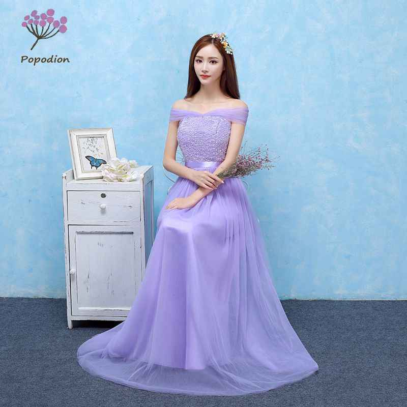 Violet Bridesmaid Dresses Long For Wedding Guests Sister Party Formal Dress Plus Size Dress Prom Dresses Real Photo Rom80098