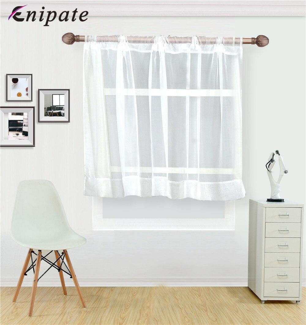 Enipate Solide Blanc Tulle Chambre Cantonnière Demi Pure Fenêtre