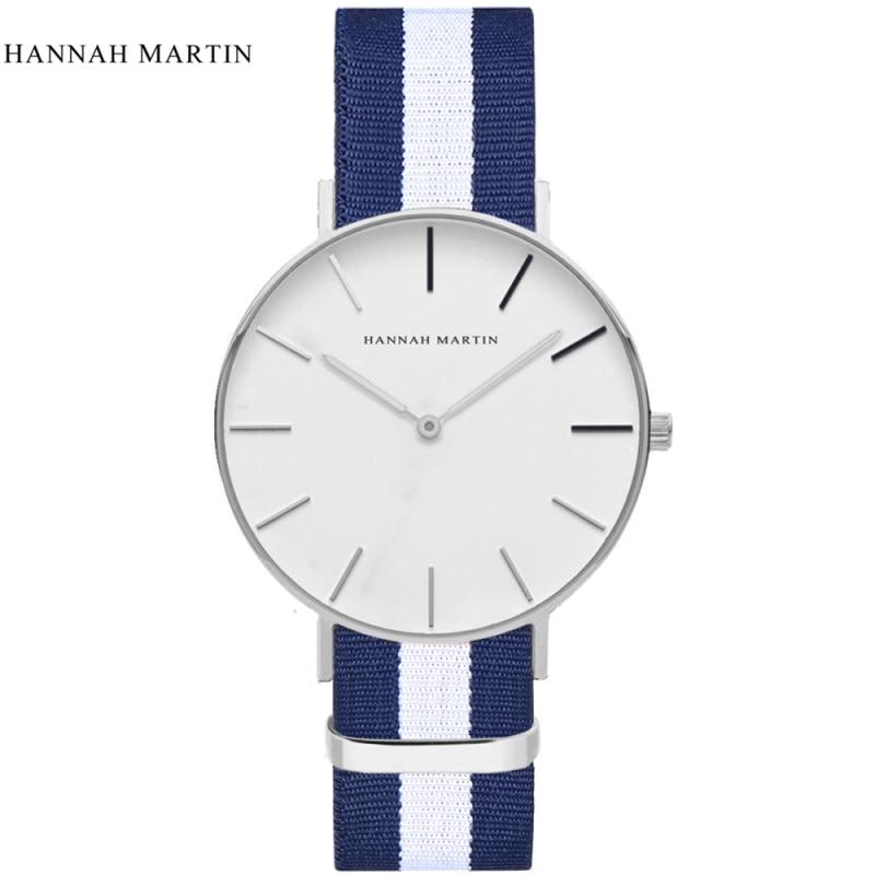 Brand Hannah Martin Watches Men Women Fashion Casual Sport Clock Classical Nylon Quartz Wrist Watch Relogio Masculino Feminino