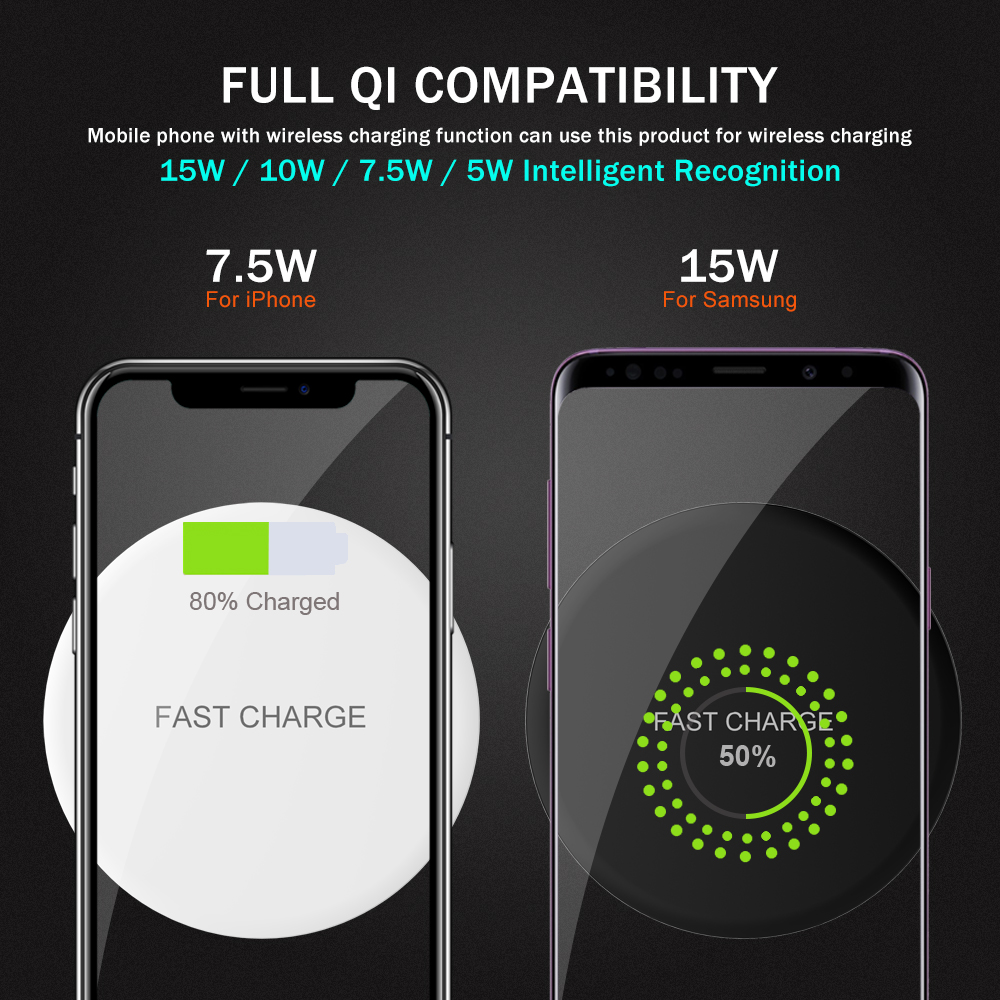 portefeuille chargeur induction qi wireless charger pad. Black Bedroom Furniture Sets. Home Design Ideas