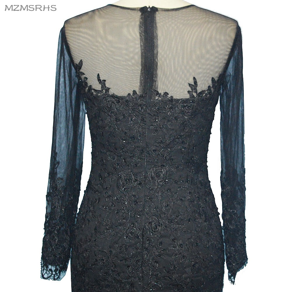 Ilgos rankovės, V formos kaklas, ilga vakarinė suknelė, undinė, - Ypatinga proga suknelės - Nuotrauka 6