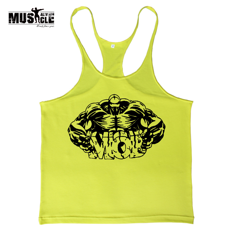 Men Bodybuilding T-shirts Training Stringers Gym Clothing Workout For Male Sleeveless Cotton Black Red Yellow Green Clothes