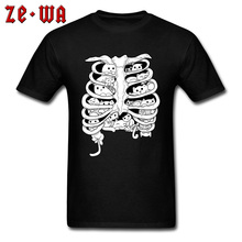 Funny Black T-Shirts Little Cats Group On The Skeleton Anatomy Organ Structure Picture Tshirt For Men Cotton Crew Neck Summer