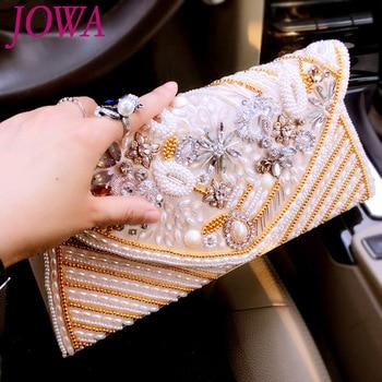 2019 Women's New Evening Bags Vintage Handmade Beading Handbag Satin Diamond Casual Clutch Wedding Party Package Cover Chain Bag