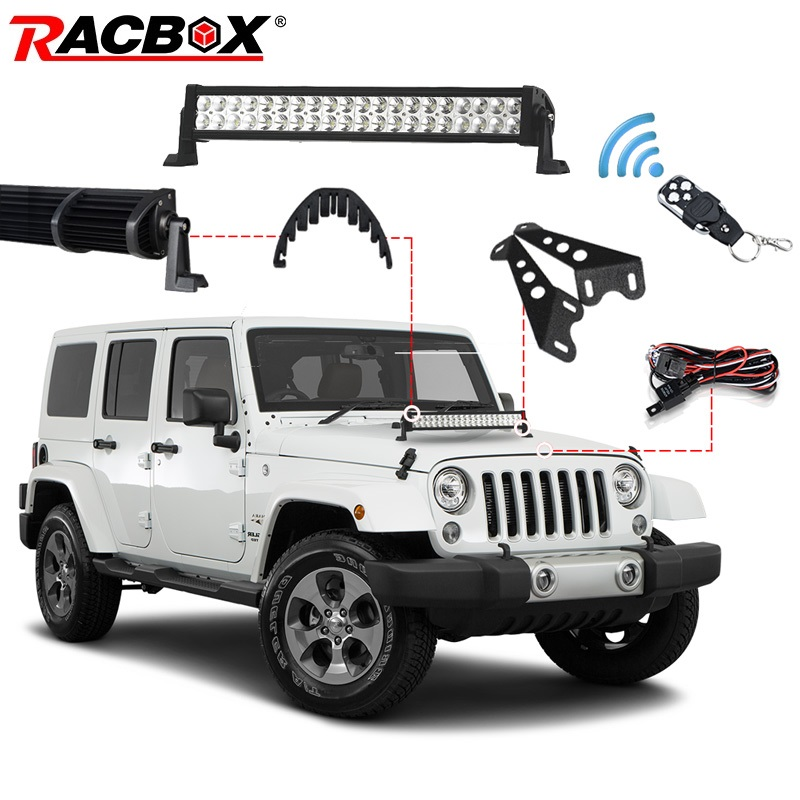 2019 New Style Racbox 3d 120w 22inch Offroad Led Work Light Bar Combo Beam + Light Bar Mount + Remote Control Switch For Jeep Wrangler Jk 07-15