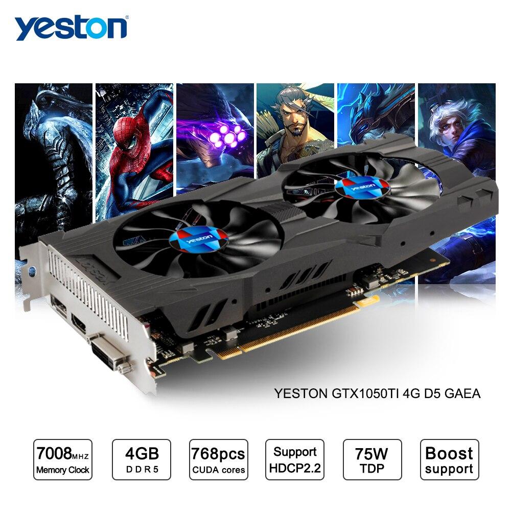 Yeston GeForce GTX 1050Ti GPU 4GB GDDR5 128 Bit Gaming Desktop Computer PC Support Video Graphics
