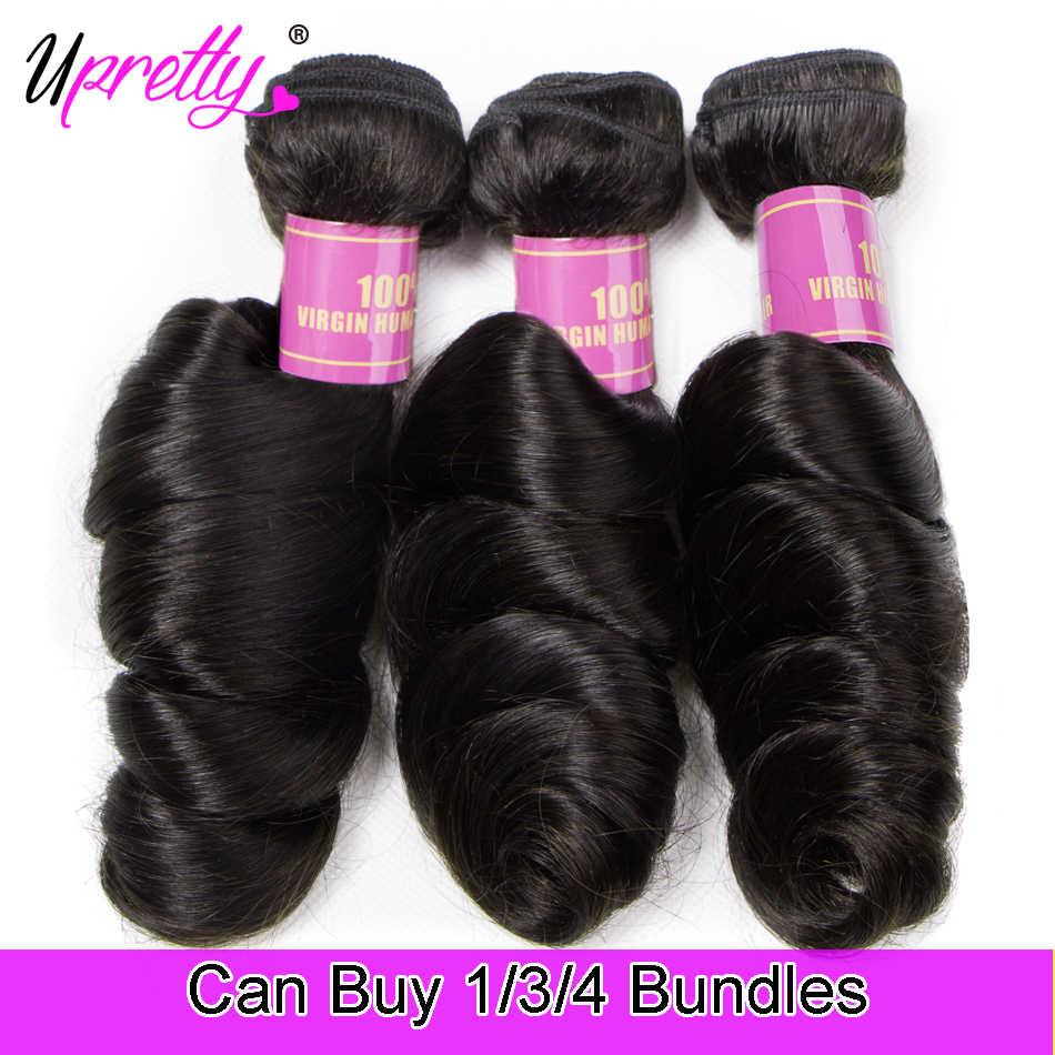 Upretty Loose גל חבילות ברזילאי שיער Weave חבילות רמי שיער טבעי צרור הארכת 1/3/4 חתיכה טבעי שחור צבע