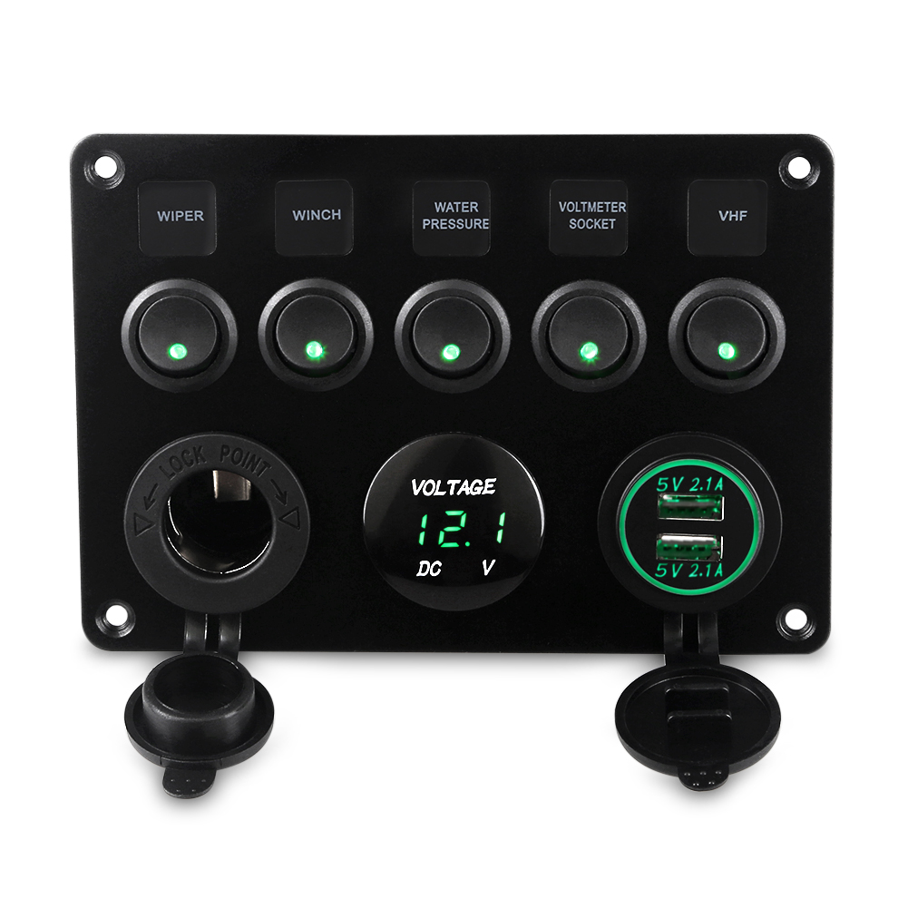 цена на 5 Gang Waterproof Boat Marine Switch Panel 12v On-Off Circuit Breaker Panel Rocker Switch Yacht Car Dual USB Socket Voltmeter