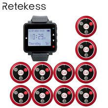 RETEKESS Wireless Waiter Calling System For Restaurant 1 Black Watch Receiver + 10 Call Button Customer Service Wireless Pagers цена