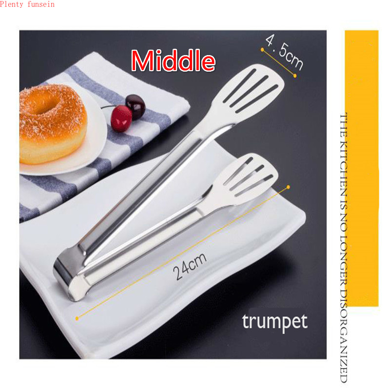 Bread sandwiched stainless steel steak non magnetic food clip Tongs Utensils Buffet Cooking Tool Anti Heat Pastry Clamp 2 sizes in Baking Pastry Tools from Home Garden