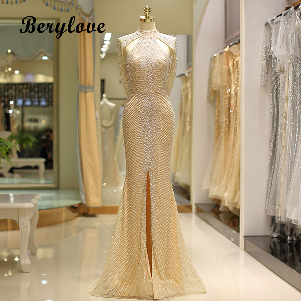 BeryLove 2018 Beading Champagne Mermaid Evening Dresses High Neck Sit Evening Gowns Prom Dress Long Formal Dress Women Elegant