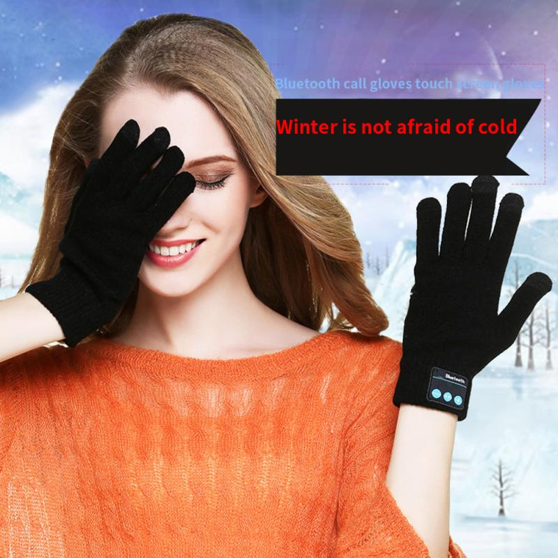 1 Pair Women Men Finger Sensor Built-in Speaker/Microphone Gloves Bluetooth Gloves Unisex Autumn Winter Warm Knit Gloves #20