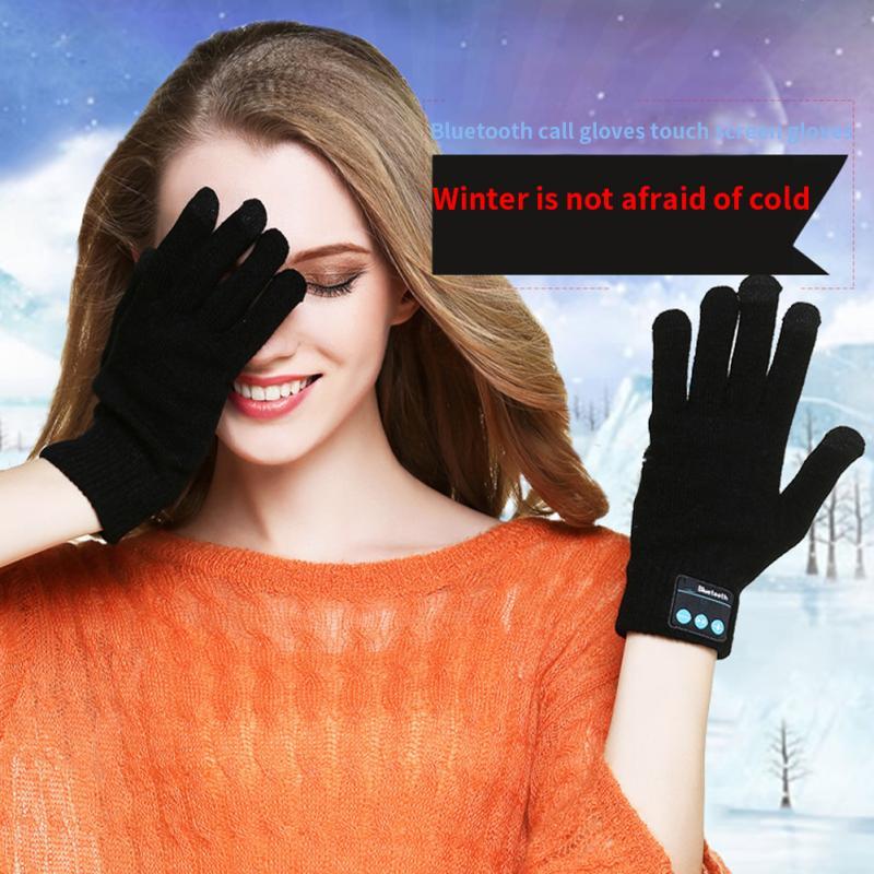 1 Pair Women Men Finger Sensor Built-in Speaker/Microphone Gloves Bluetooth Gloves Unisex Autumn Winter Warm Knit Gloves #20
