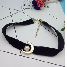 Charm cartoon anime jewelry moon Pendants necklace punk Imitate pearls choker necklace boho Velvet necklaces & pendants  N195