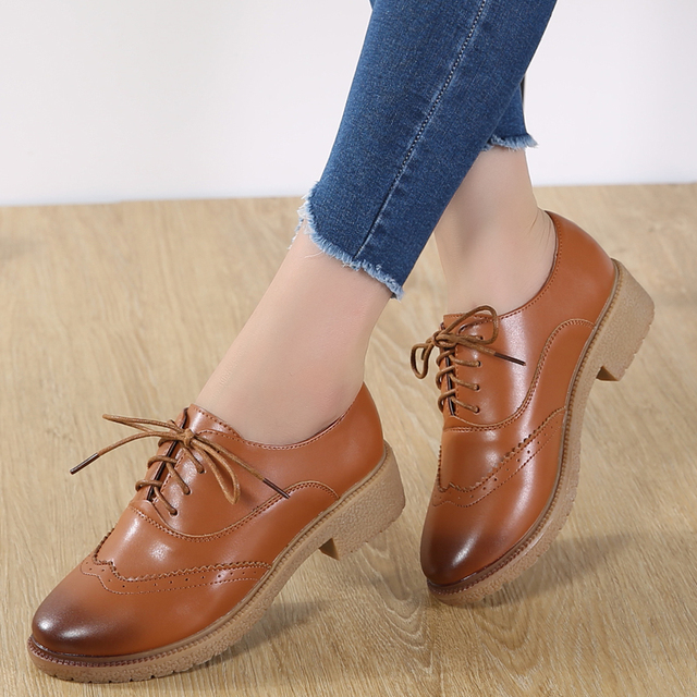 JZZDDOWN womens shoes genuine leather oxford shoes for women Ladies moccasins Female Women leather shoes Luxury Brogue