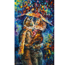 Hand Painted Abstract Landscape Cat Kiss Knife Modern Art Oil Painting Canvas Art Living Room hallway Artwork Fine Art