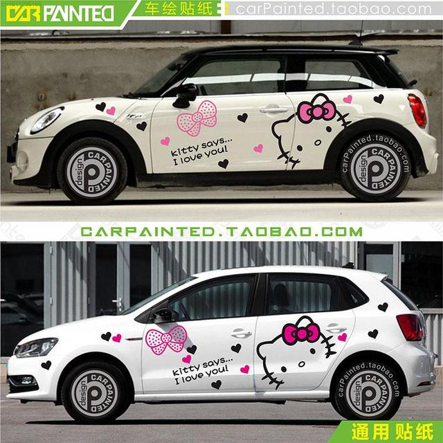 Fashion Car Styling Cute HELLO KITTY Cartoon Design The