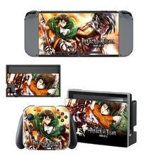Anime Attack on Titan Decal Vinyl Skin Sticker for Nintendo Switch NS Console+Controller+Stand Holder Protective Film цена и фото