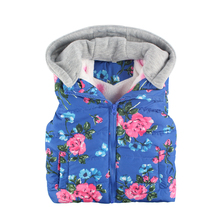 Baby Girl Clothes 2016 Winter Girls Outerwear Baby Floral Printed Hooded  Thicken Warm kids Vest Coat Kids Waistcoat Child Vest