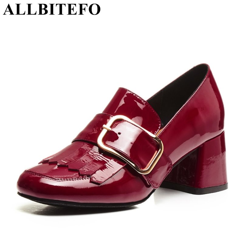 ALLBITEFO new spring Patent leather thick heel brand buckle women pumps medium heel high quality party shoes girls pumps 2016 spring designer women shoes 6 colors thick heel patent leather slip on pumps brand designer quality dress shoes with buckle