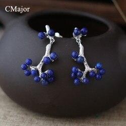 Livraison gratuite!!! S925 sterling bijoux en argent classique style naturel lapis lazuli branche boucles d'oreilles pour les femmes