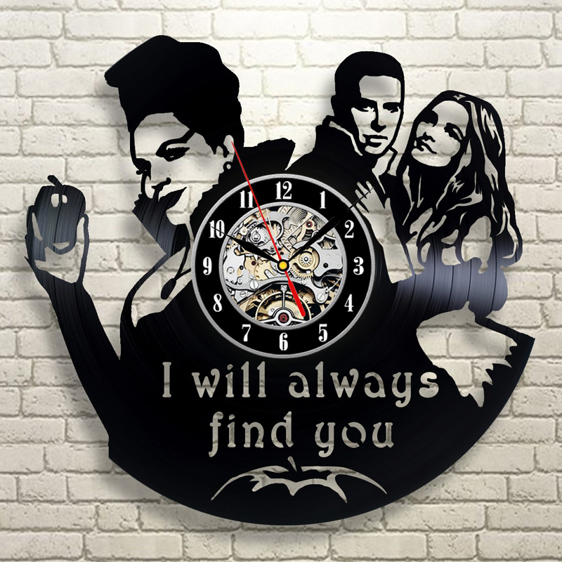 Once Upon A Time Wall Clock Modern Design America Movie Theme Vintage Vinyl Record Wall Clocks Hanging Watch Home Decor 12 Inch