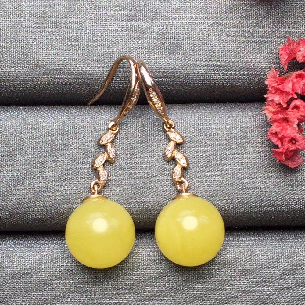 Fine Jewelry Real 18k Rose Gold AU750 100% Nature Yellow Amber Gemstone Female Earrings Fine Gift women earring