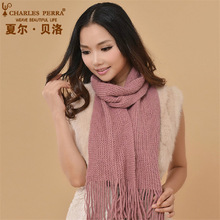 Charles Perra Women Winter Scarf Warm Wool Blend Scarves Shawls Fashion Casual Long Knitted Classic Solid Color CD60