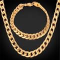 U7 Necklace Bracelet Sets New Yellow Gold/Rose Gold Plated Cuban Link Chain Necklace Bracelet Men Jewelry Set S156