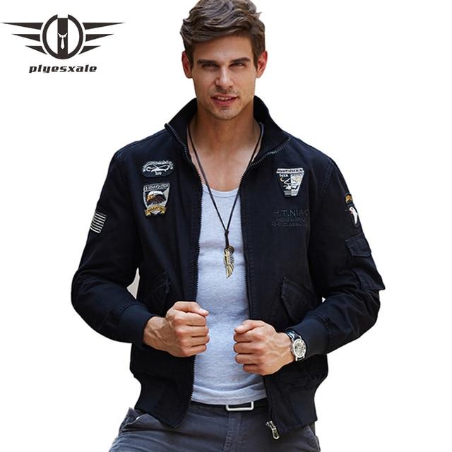 Plyesxale Aeronautica Militare Для мужчин Курточка бомбер 2018 Роскошные Для мужчин Военная Униформа армии Куртки Вышивка Для мужчин S уличная куртка Q132