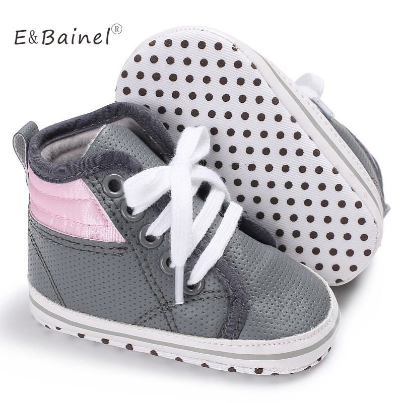 Spring Autumn Patchwork Anti-Slip Soft Sole First Walkers PU Leather High Heel Lace-Up Baby Shoes Baby Boys Shoes
