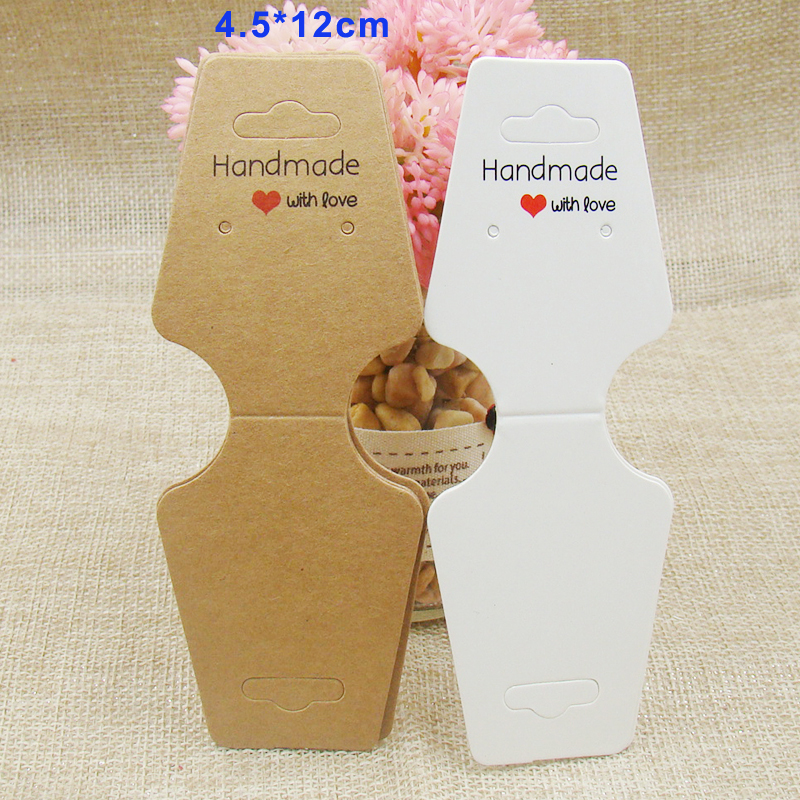 2017 NEW DIY Hand Made With Love White Necklace Earring Card Holder Kraft Display Jewelry Card Custom EMO Order Accepet