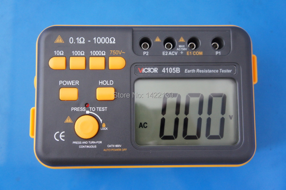 Victor 4105B Digital Earth Ground Resistance Tester 0.1~1000 Ohm 2% 750V , VC4105B victor dm6235p digital tachometer