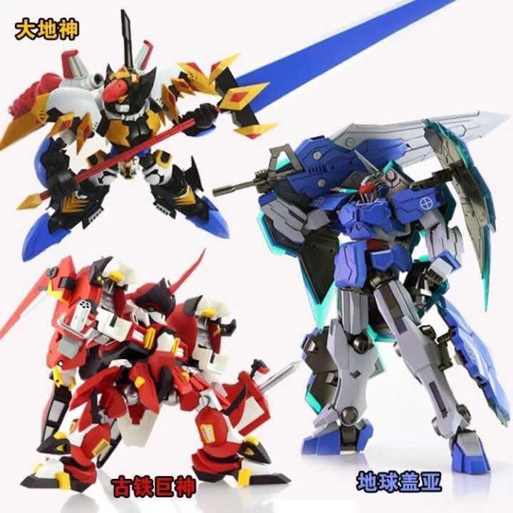 Robot anime monterade Gundam MC Q Gaia Earth-Gu Tieju-God lysande klistermärken original låda gundam