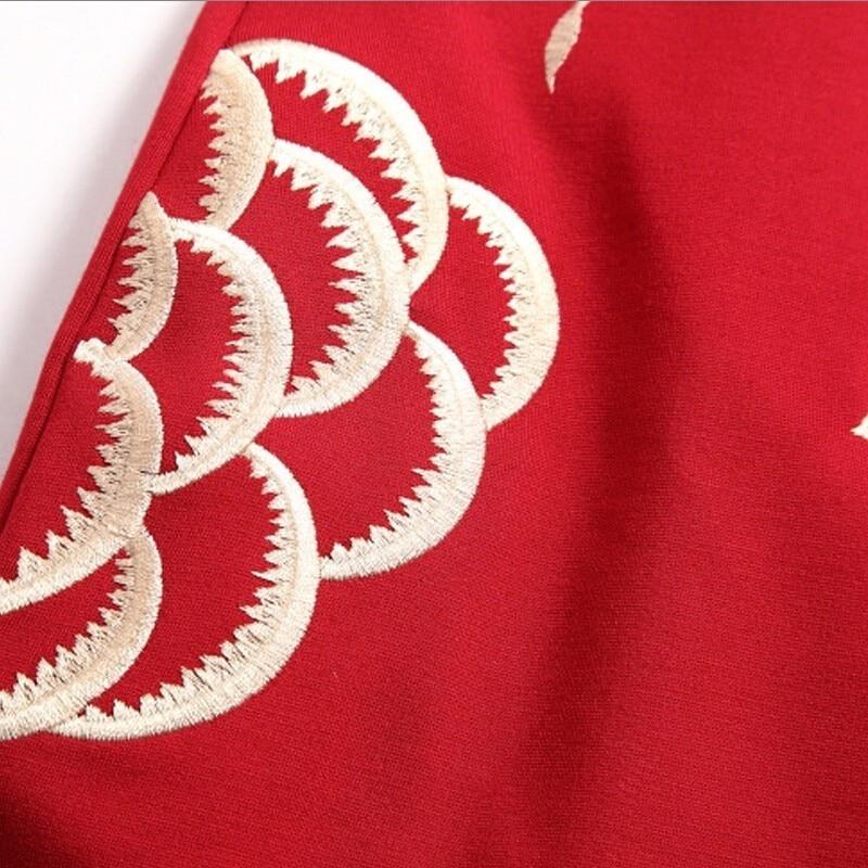 MAX Lulu брендовая одежда 2017 Китай Стиль модные Цветочный принт красное платье женские пикантные Slim Fit Осень Bodycon женщин Платья для женщин Бесплатная - 5