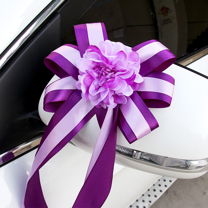 Aliexpress Buy Silk Rose Ribbon Flower Decoration For Car Wedding WIth Flowers Pink Purple Tiffany Blue From Reliable