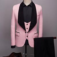 2019 Latest Coat Pants Designs Men Pink Suits For Wedding Prom Dress Slim Fit Groom Best Man Mens Tuxedo 3 Pieces Costume Homme