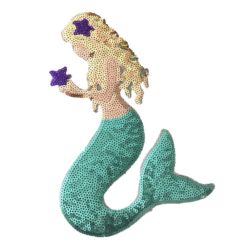 Iron on Sequin Mermaid Applique Patch