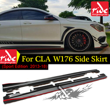 for Mercedes W176 Carbon Fiber Side Skirt For Benz A Class With AMG pacakge A180 A200 A250 A45 / CLA45 W117 Sport Edition