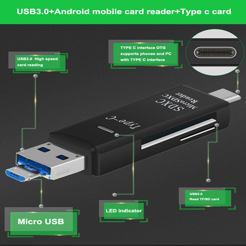 All In One Adapter SD/ Micro SD/ <font><b>TF</b></font> Card Reader Type C <font><b>USB</b></font> <font><b>3.0</b></font> Micro <font><b>USB</b></font> OTG Andriod PC External Multi Memory Card Reader image