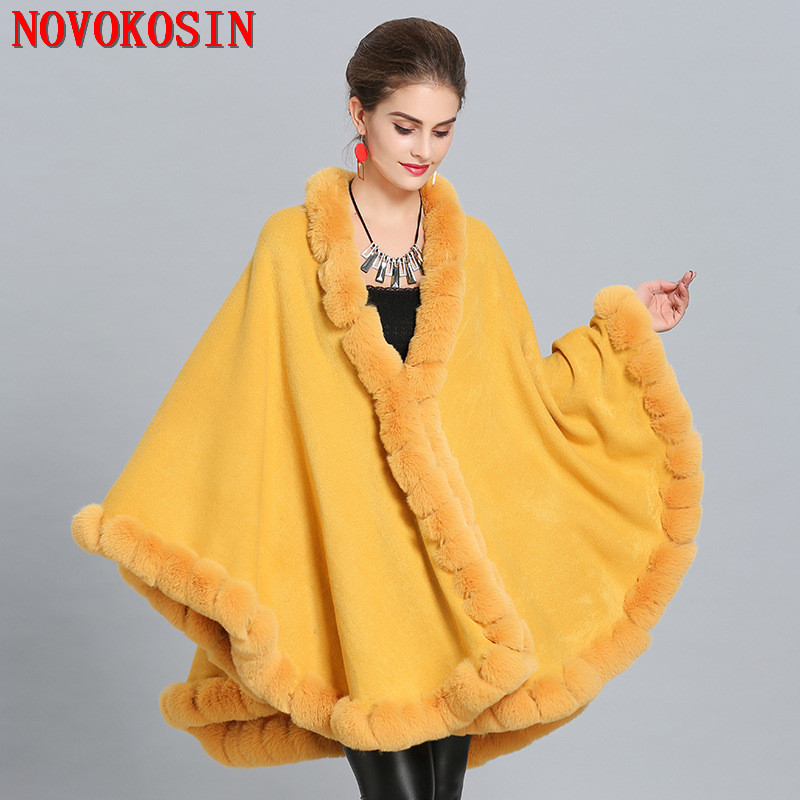 New Women Knitted Short Faux Fur Trim Hooded Cape Poncho With Fur Cuffs Thick