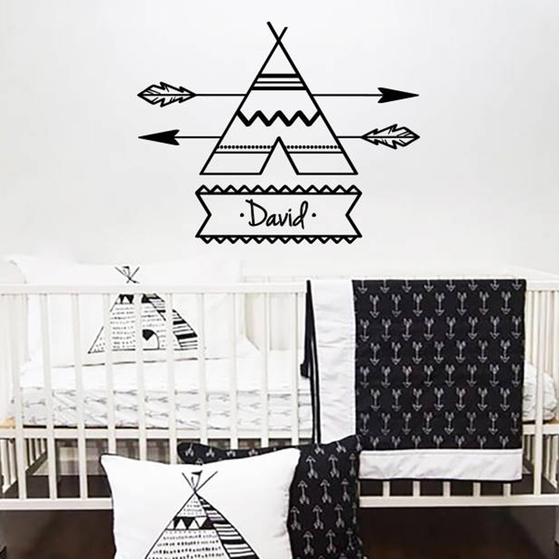Imported From Abroad Vinyl Wall Sticker For Kid Room Decoration Teepee Arrow Personalized Custome Name Decal Bedroom Nursery Home Art Poster Zx493 Wall Stickers