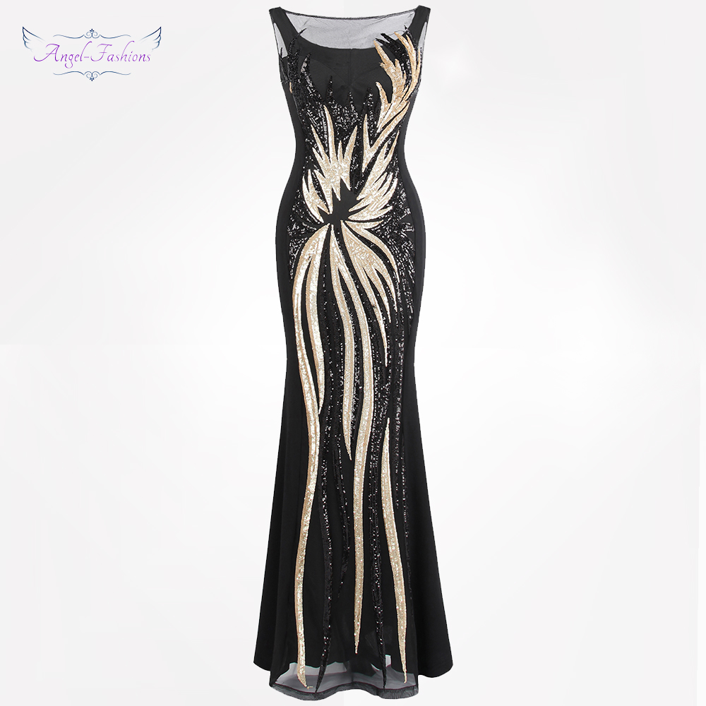 Angel-fashions Women's Sheer Evening Dresses Round Neck Vintage Sequin Splicing Dress Gold 403 Party Kleid
