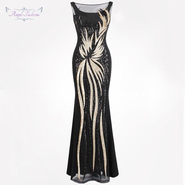 מלאך-אופנת נשים של Sheer ערב שמלות עגול צוואר בציר נצנצים שחבור שמלת זהב 403 המפלגה Kleid