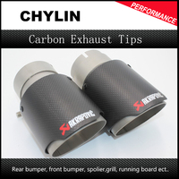 1Pair ID 51mm OD 90mm Car Racing Style Akrapovic Carbon Fiber Exhaust Tip