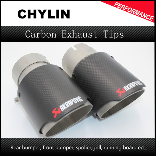 1Pair ID: 51mm OD: 90mm Car Racing Style Akrapovic Carbon Fiber Exhaust Tip
