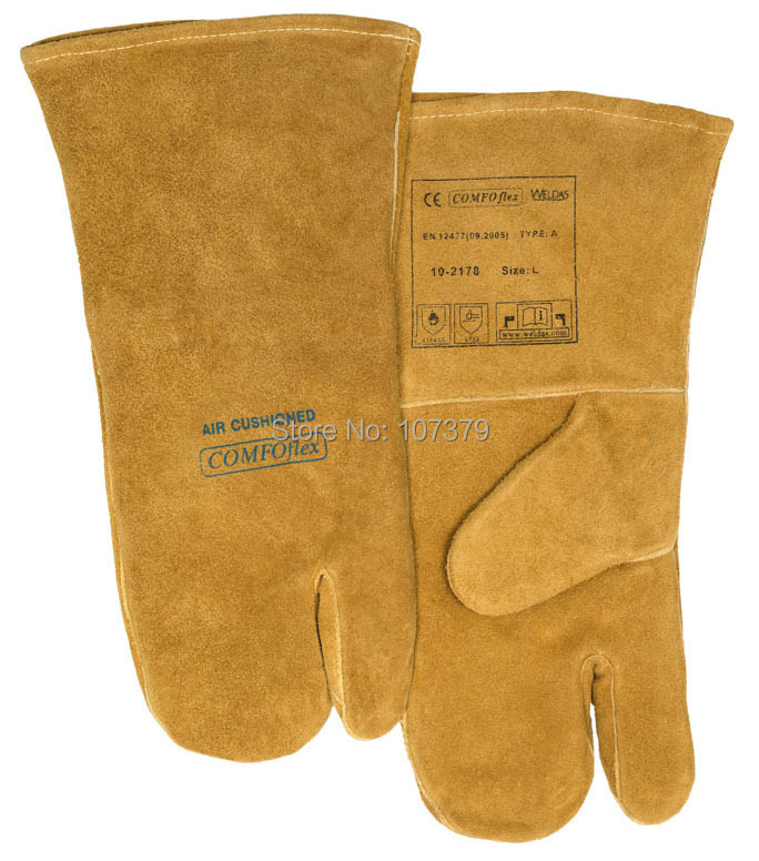 Leather Work Glove Welding Gloves 3 Fingers Split Cow Leather Welding Glove disposable plastic gloves 20 glove pack