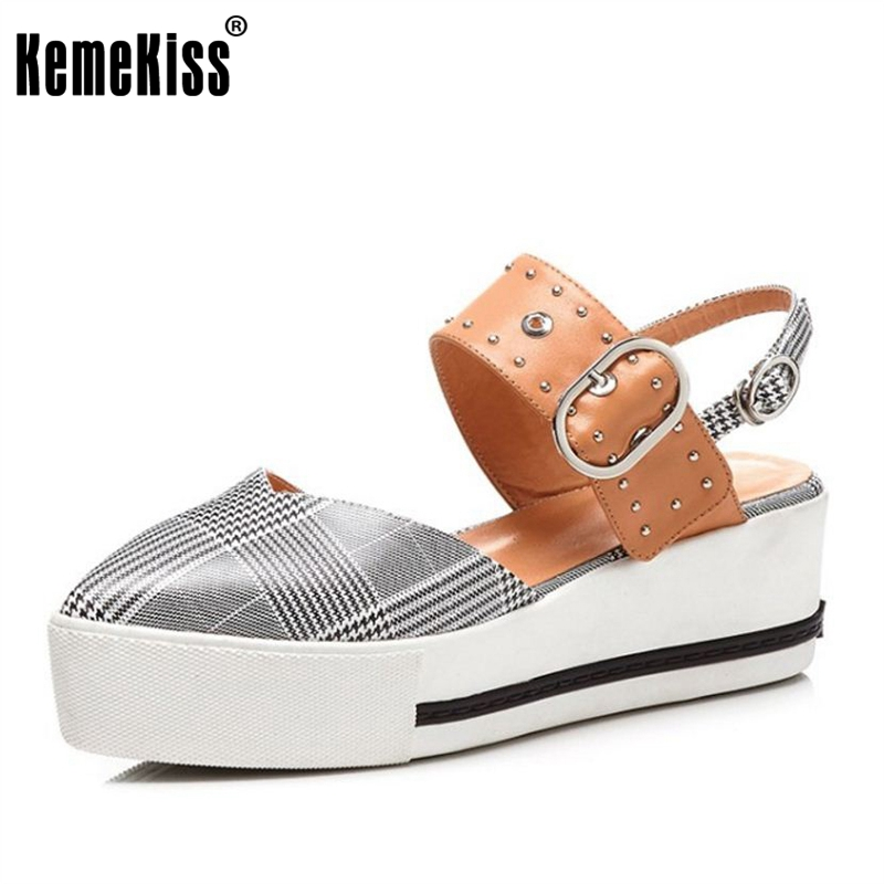 KemeKiss Classic Women Genuine Leather Wedges Sandals Rivet Buckle Plaid Wedges Sandals Summer Women Trifle Shoes Size 33-40 classic leather sandals classic leather sandals women sandals summer sandals